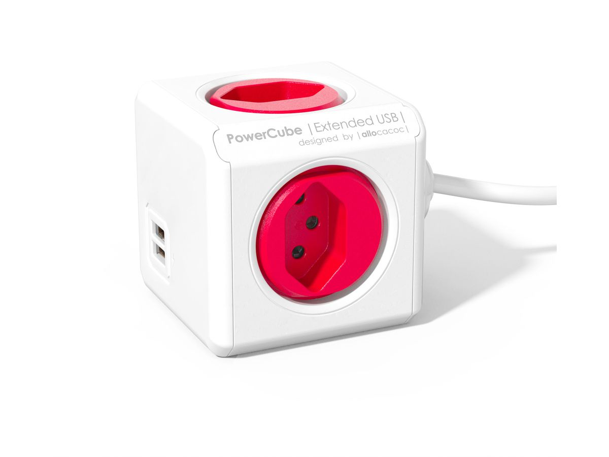 POWERCUBE Socket extend red 66.7890RD 4xT.13 2xUSB 5V 2.1A (8719186001108)